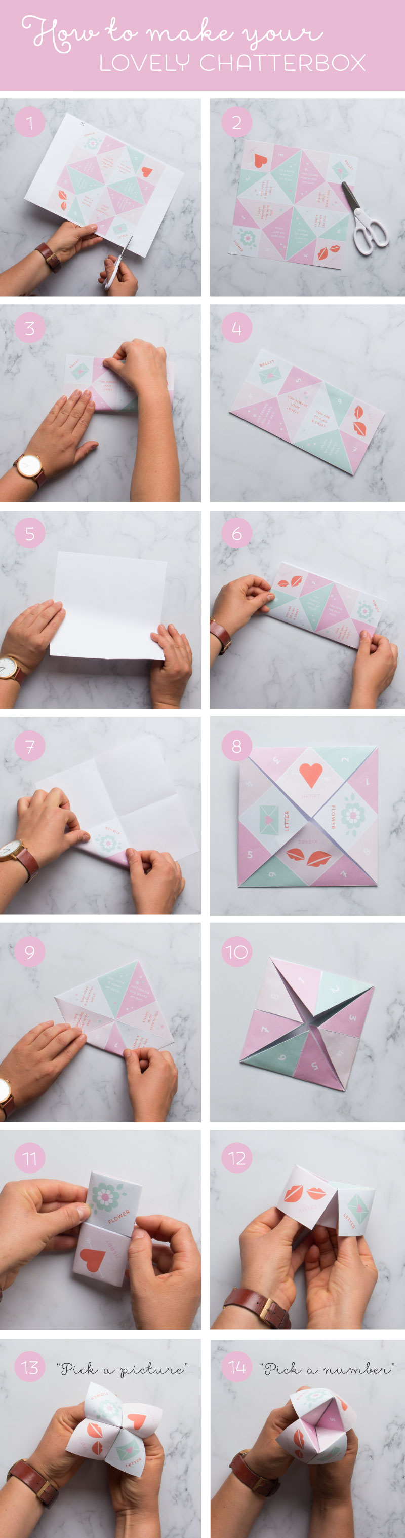 How to make a chatterbox or paper fortune teller with free Valentines themed printable chatterbox