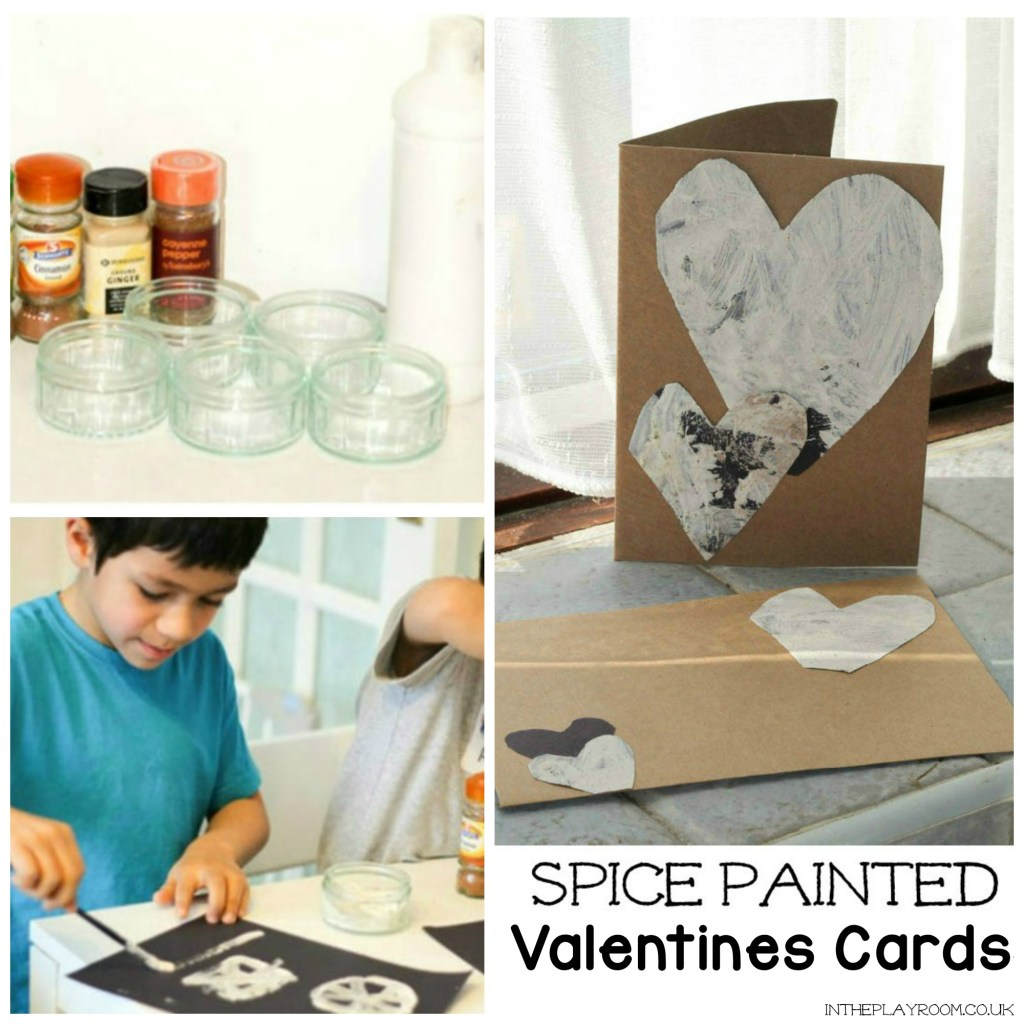 Spice painted Valentines cards for kids to make