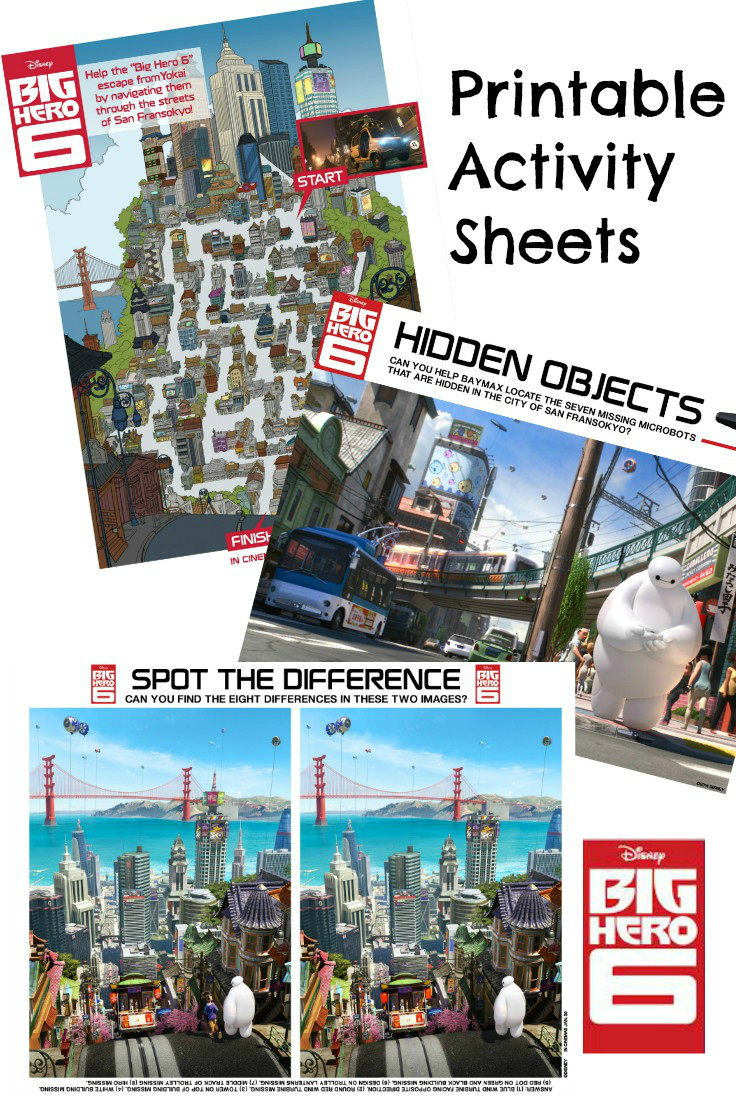 Disney Big Hero 6 printable activity sheets including hidden objects, spot the difference and a San Fransokyo maze. Lots of fun with Baymax and Hiro