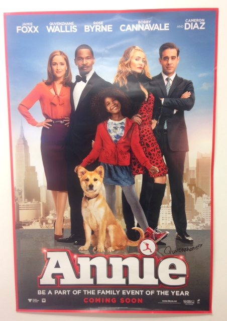 Quvenzhané Wallis signed Annie Movie poster