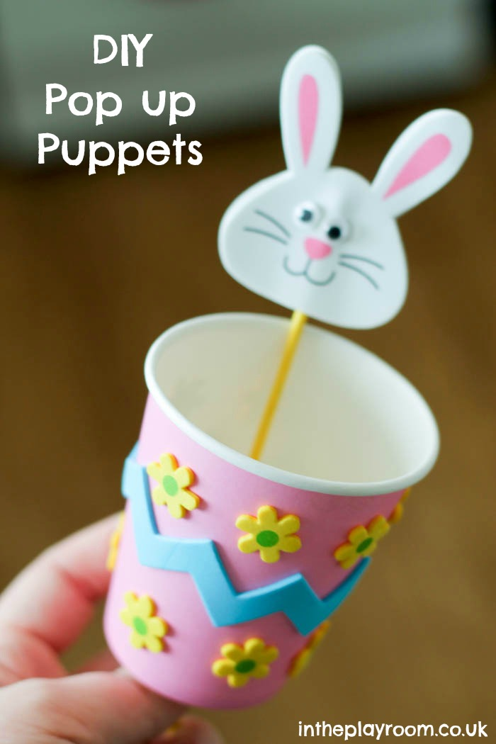 Pop up bunny puppet, paper cup craft for Spring or Easter time