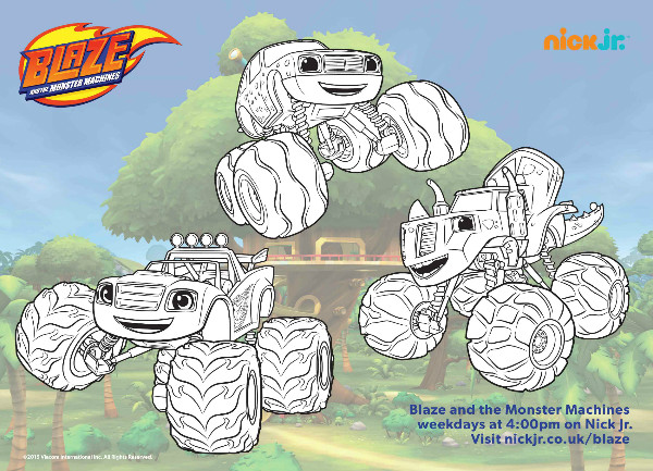 Blaze and the monster machine colouring printables