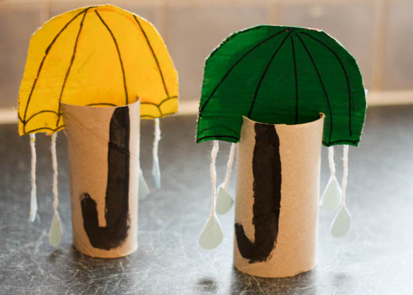 cardboard tube umbrellas rainy day craft