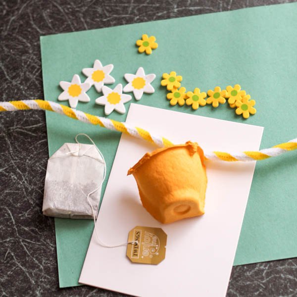 supplies for egg box tea cup card