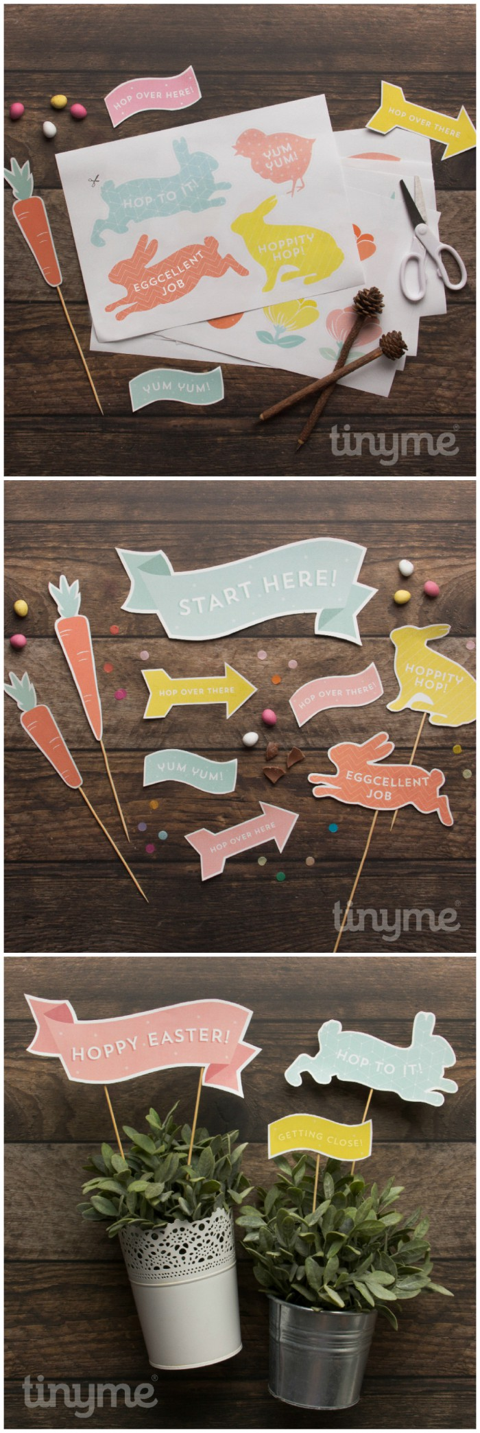 Easter egg hunt ideas. Make an Easter egg hunt trail with these cute printable signs