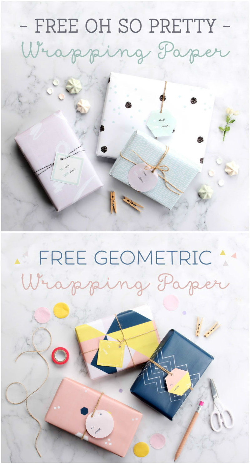 Free printable wrapping paper. 6 designs here in total, in pretty style or modern geometric pattern design