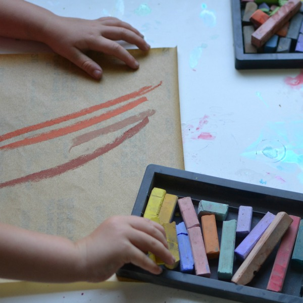 sandpaper and chalk art