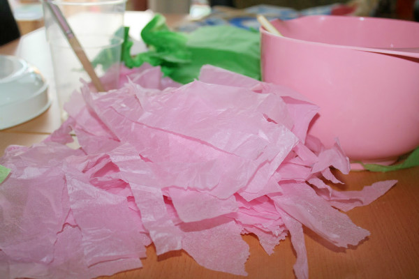 ripped tissue to make tissue paper mache