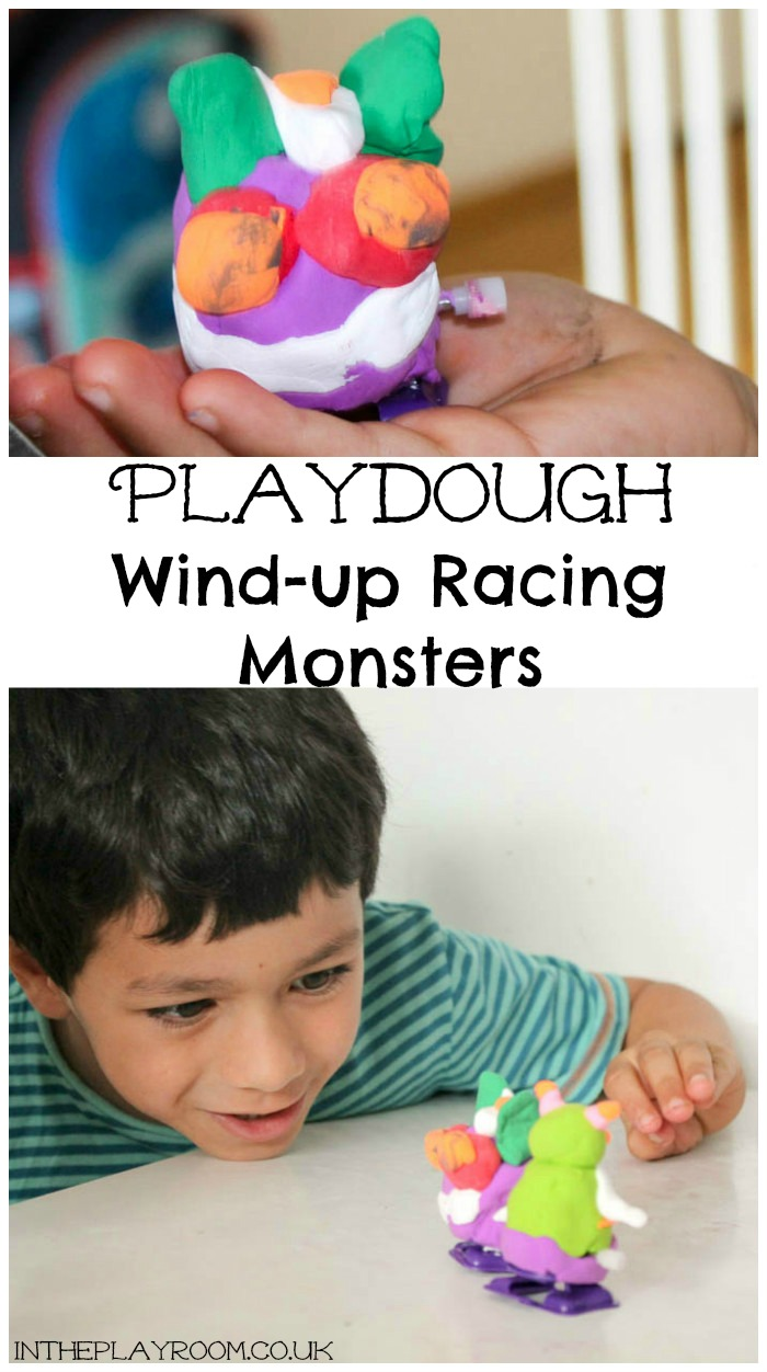 making wind-up racing monsters from playdough
