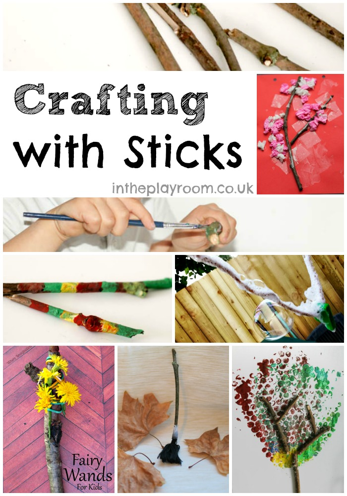 Crafting with sticks. An easy and fun way for kids to recycle and get in touch with nature. Great for Earth Day or Earth Month