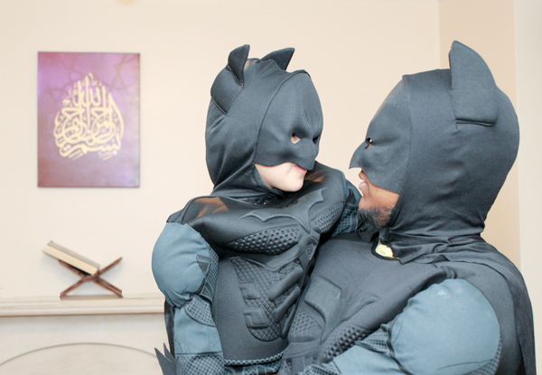 dad and baby batman