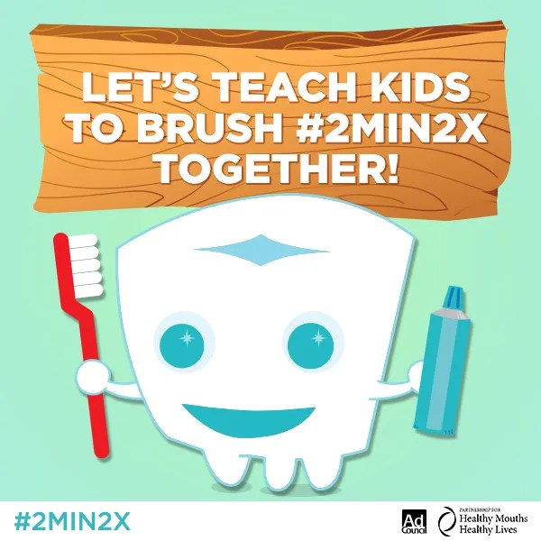 lets teach kids to brush 2 minutes 2 x per day for the best oral health