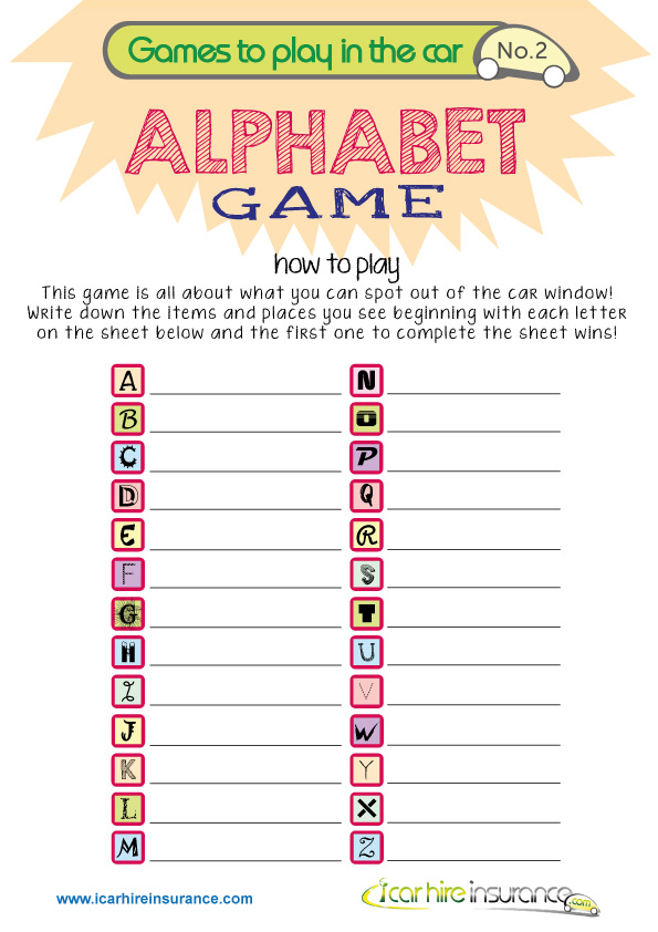 Free Printable Car Board Games