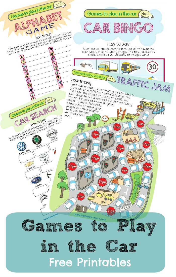 printables games to play in the car including car bingo alphabet game car search
