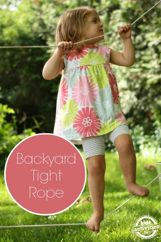 make a backyard tightrope line