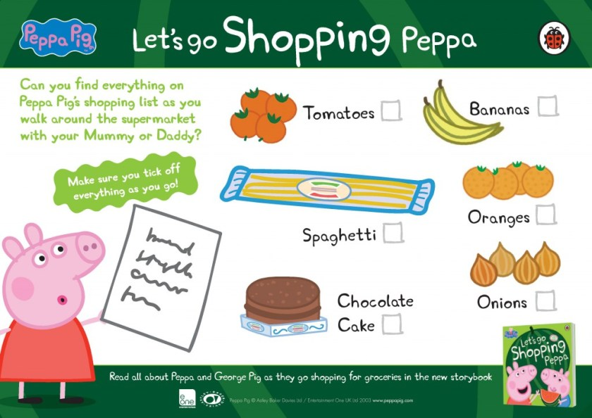 Printable Peppa Pig shopping checklist for kids. Keep them busy while grocery shopping in the supermarket