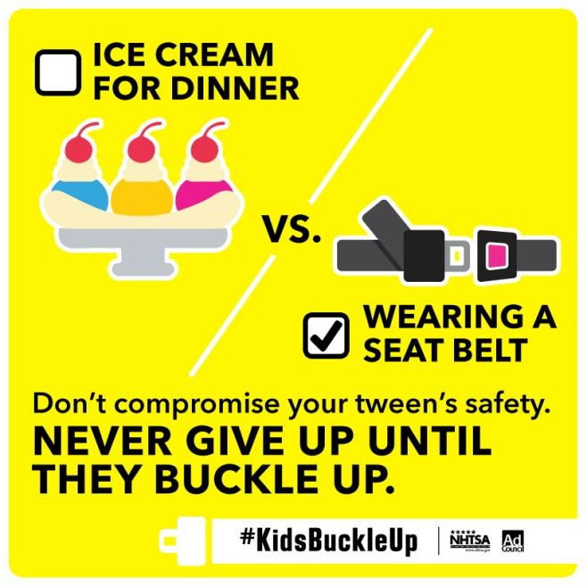ice cream for dinner vs wearing a seat belt. Somethings can not be compromised!