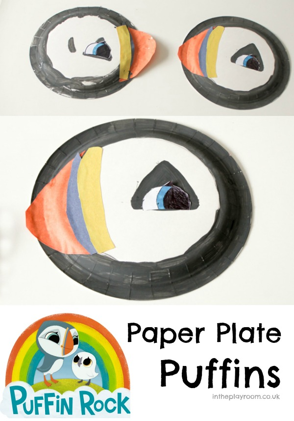 Paper plate puffins inspired by Puffin Rock. This Oona character craft is really simple and fun to make