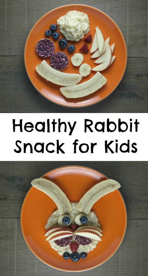 healthy rabbit snack for kids. Suitable for babies and toddlers upwards. This would work really well as a healthy breakfast idea for kids too. A fun and creative way to get kids to eat fruit!