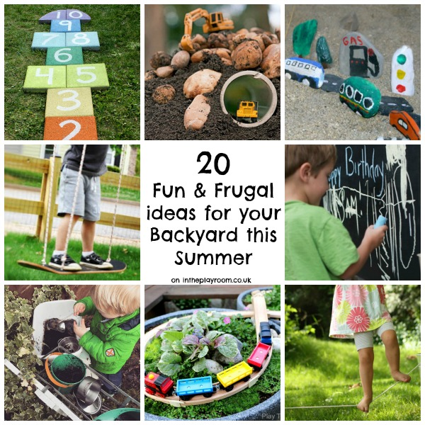 20 fun and frugal ideas for your backyard this summer. Simple DIY garden activities and cool features to add to your outdoor play space