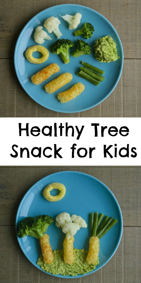 How to make a healthy tree snack for kids. Fun way to get kids to eat vegetables