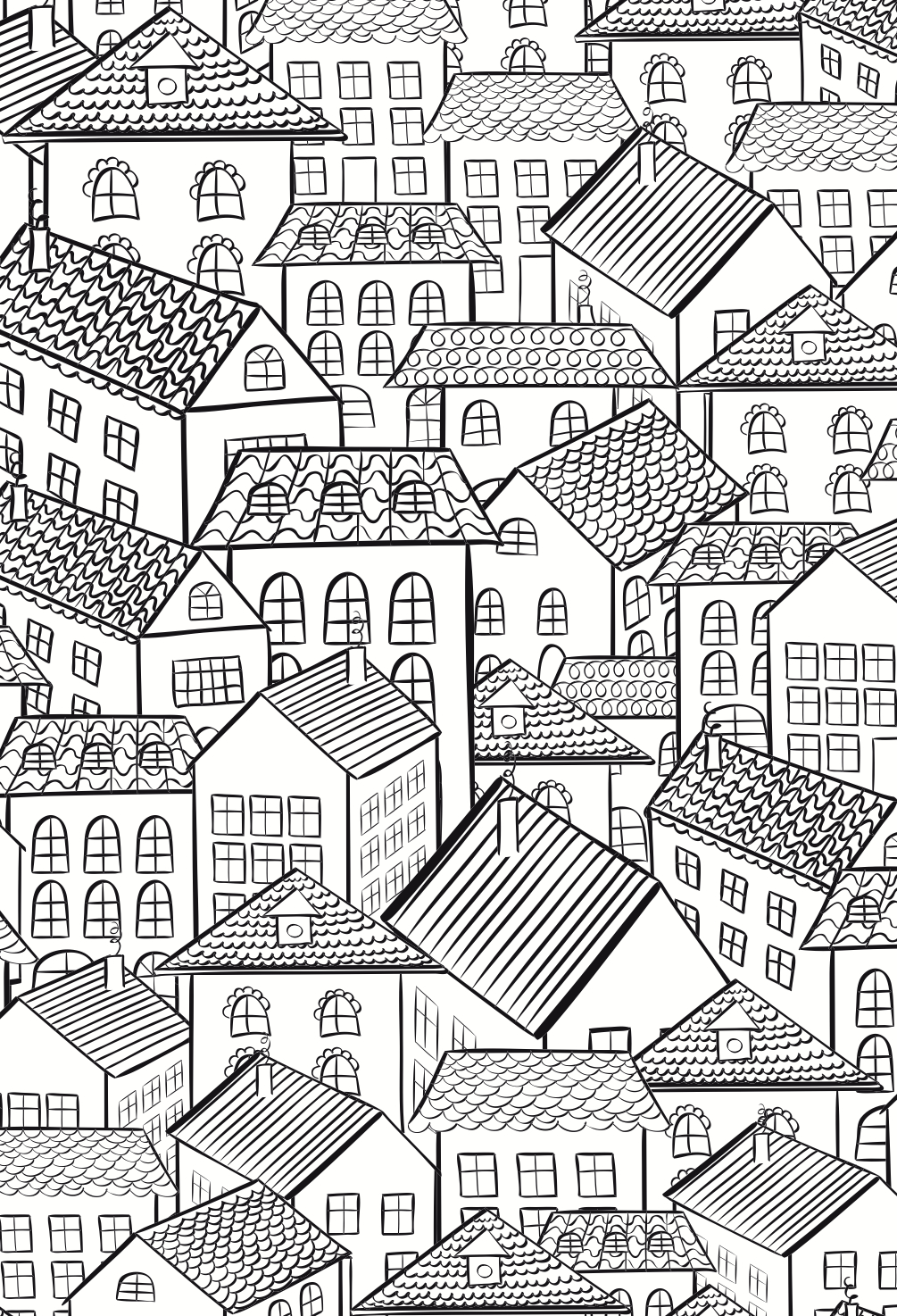 houses colouring page