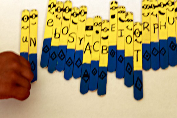 minions alphabet sticks using craft sticks