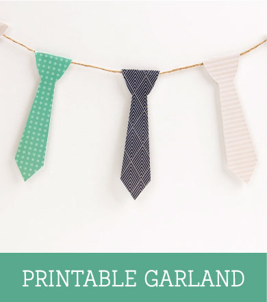 Tie garland, decoration for fathers day. free printable