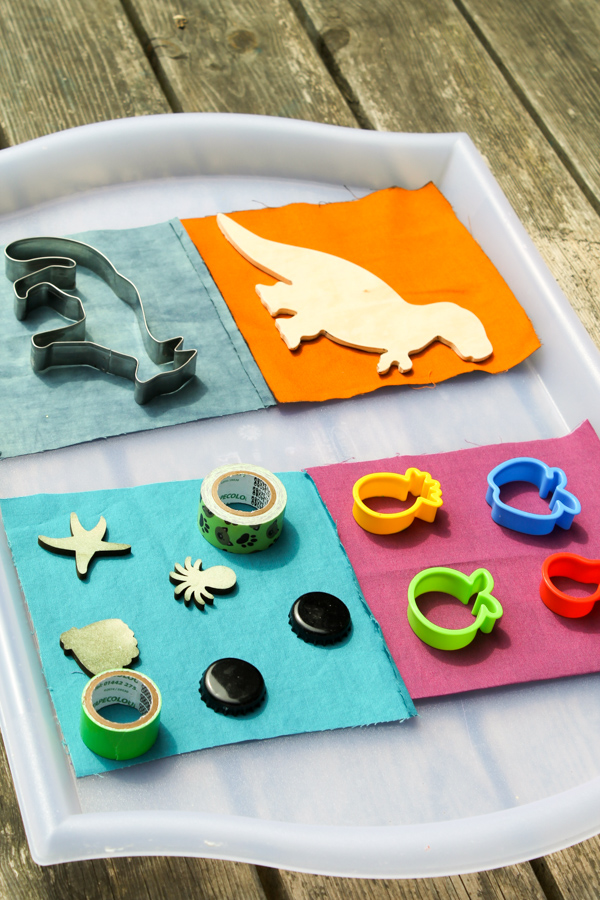 sun prints with wooden objects and cookie cutters