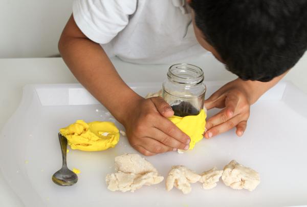 make a playdough volcano