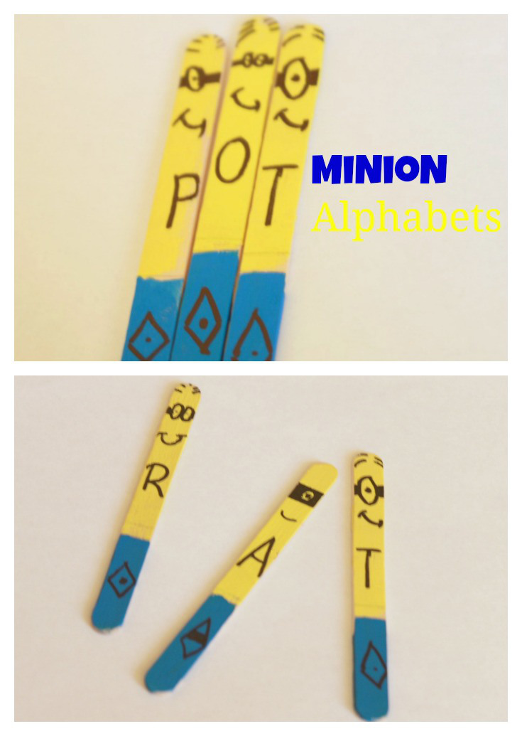 Minion alphabet sticks for kids