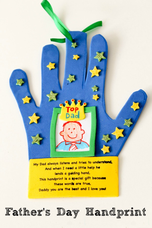 Father's Day handprint craft for kids to make, including a cute poem
