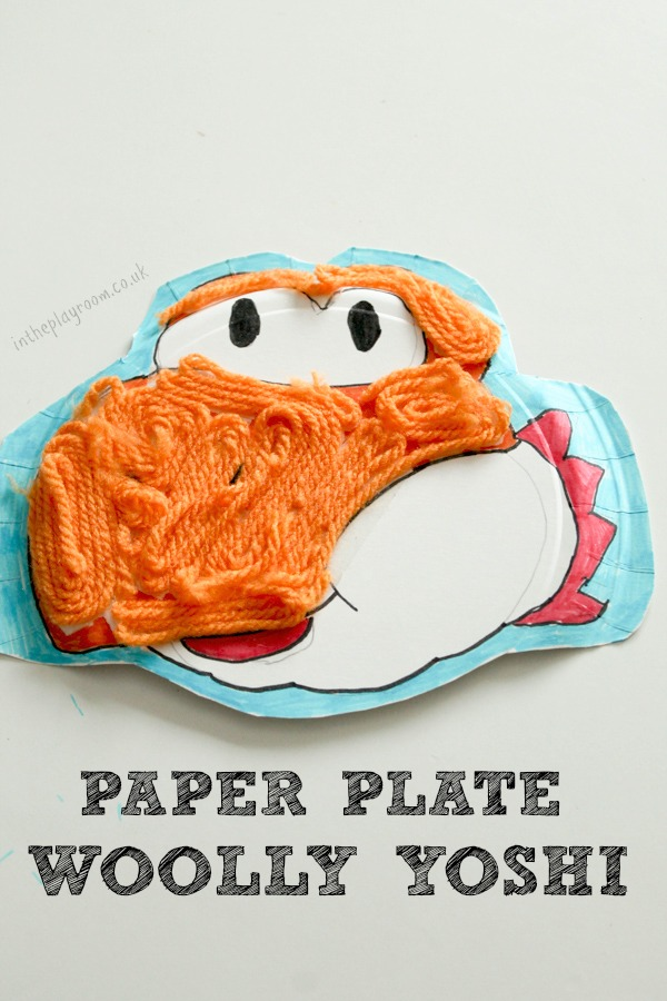 Paper plate woolly Yoshi craft for kids, featuring this cute Nintendo character from the new game Yoshi's Woolly World