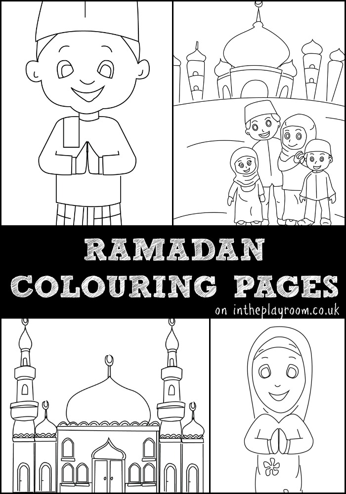 Ramadan Colouring Pages Featuring Muslim Children Family And Mosque Free Printables