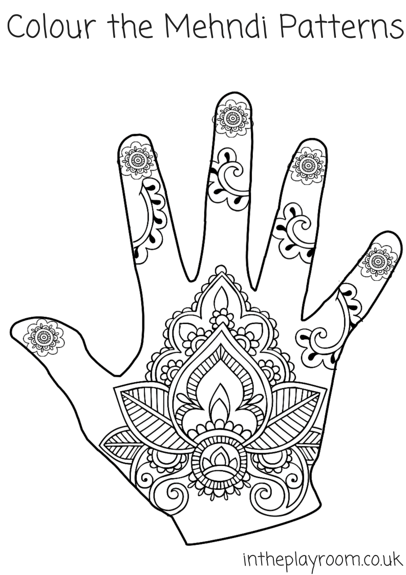 mehndi designs colouring page with detailed patterns - Coloring Page Designs