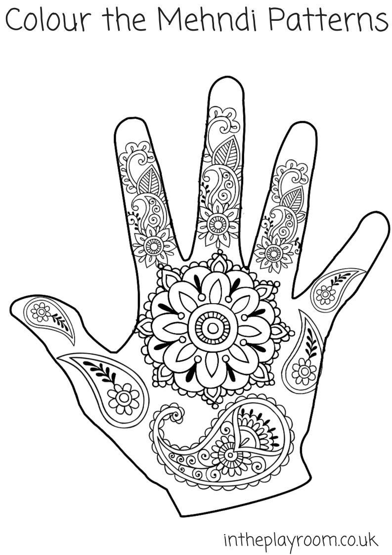 mehndi hand colouring pages