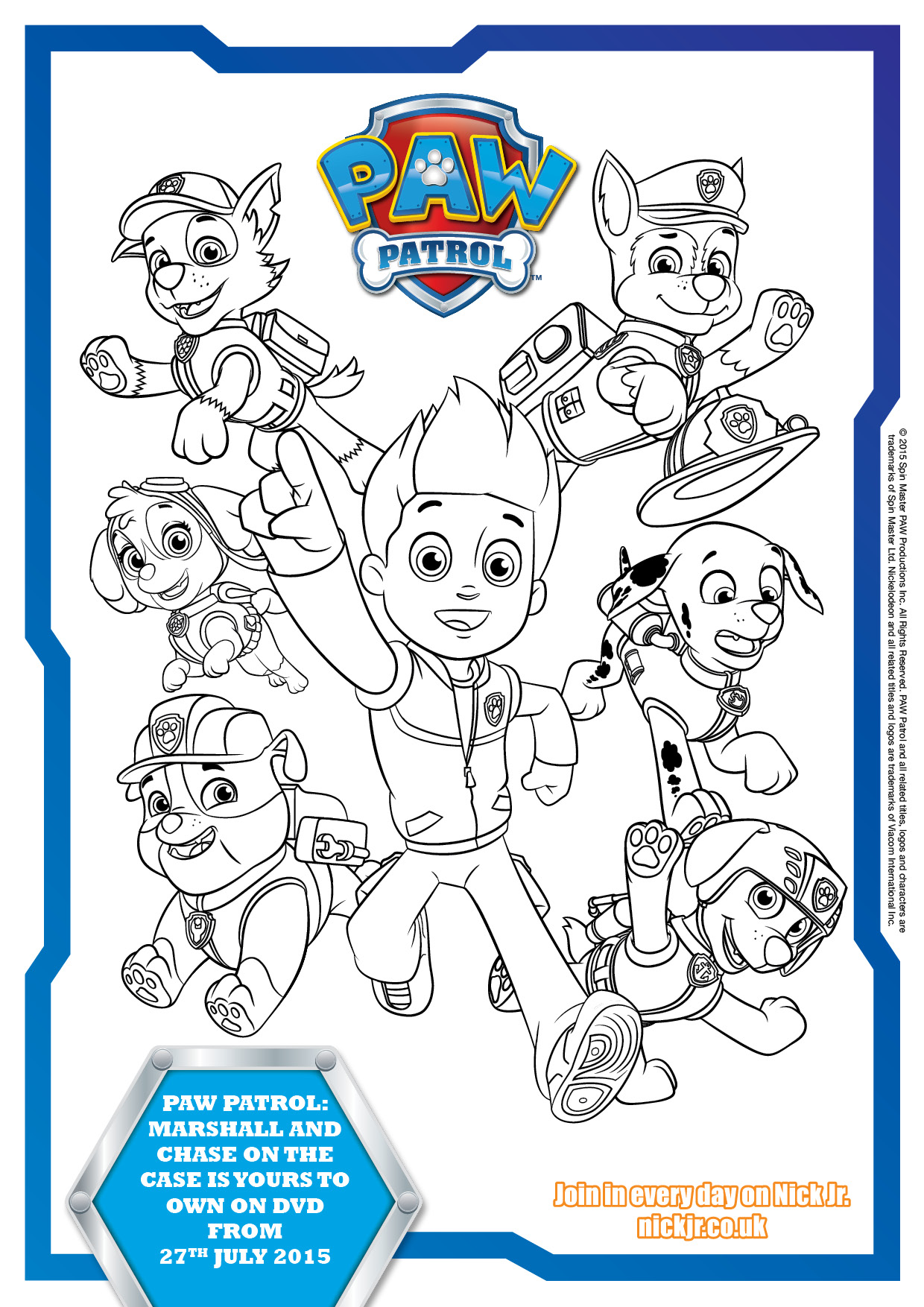Printable Coloring Pages Of Paw Patrol : Paw patrol colouring pages and activity sheets in the
