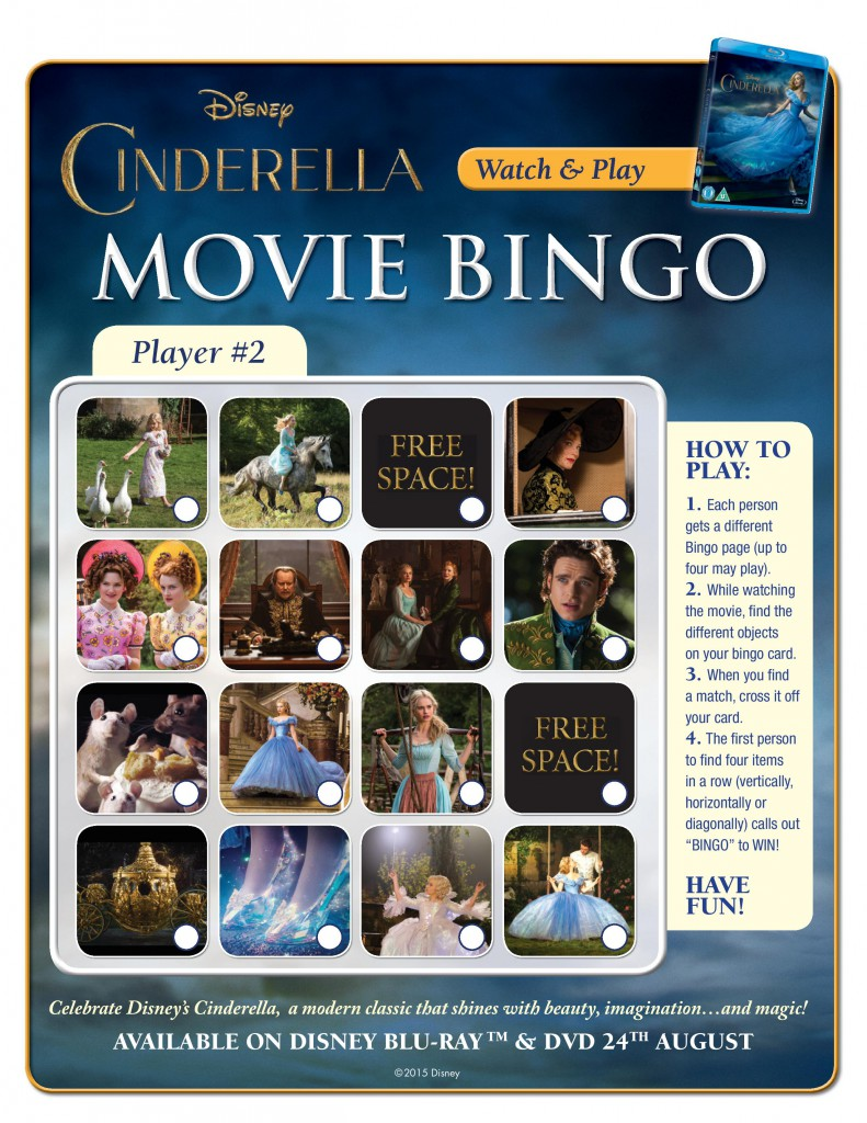 Printable Disney cinderella themed bingo game