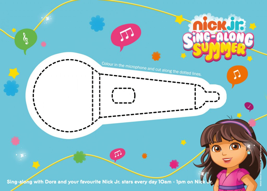 Dora and Friends microphone colouring sheet printable for fans of Dora and Friends into the city, or dora the explorer