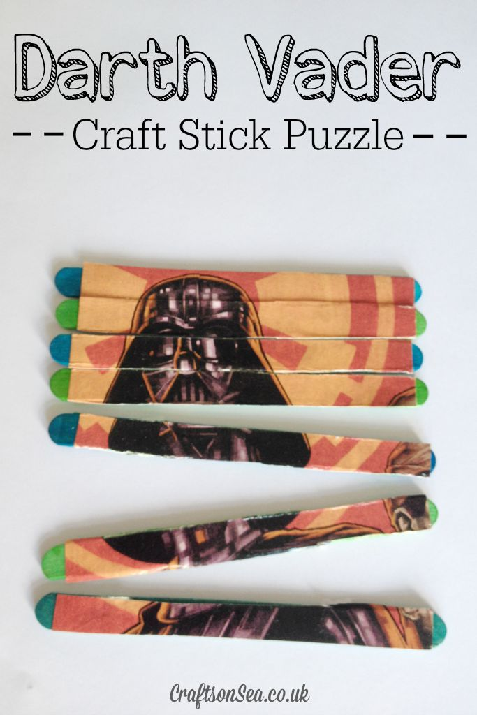 Darth Varder Craft Sticks Puzzle Star Wars Craft Idea by crafts on sea