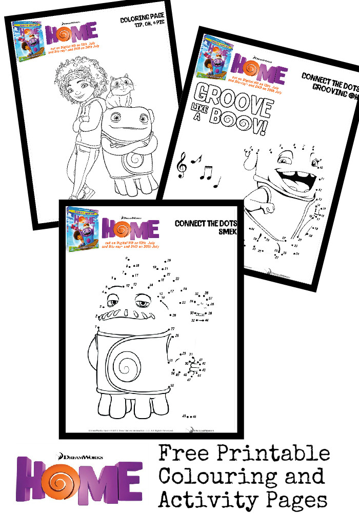 Free printable colouring pages and activity sheets for Home the movie (featuring Oh, Tip, Pig and Captain Smek - colouring and dot to dot pages)