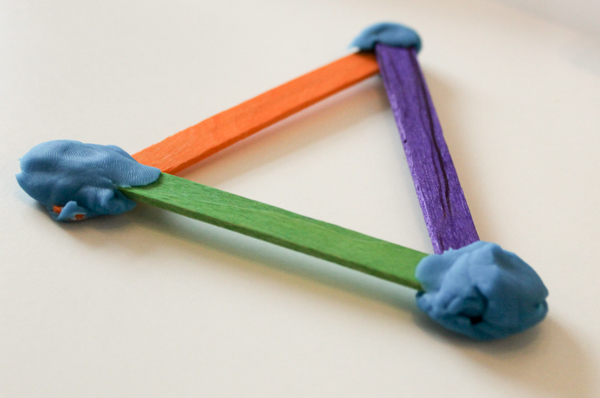 building 2d shapes from craft sticks. Fun and simple STEM activity for kids