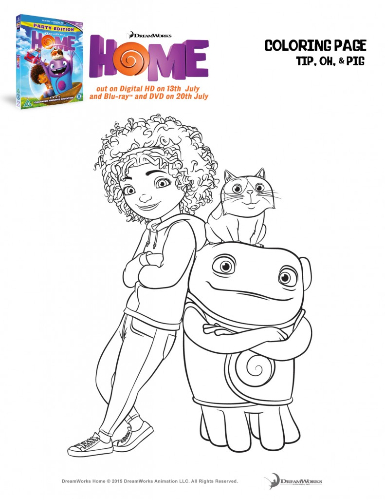 Home colouring page featuring Tip, Oh and Pig from the Dreamworks movie Home