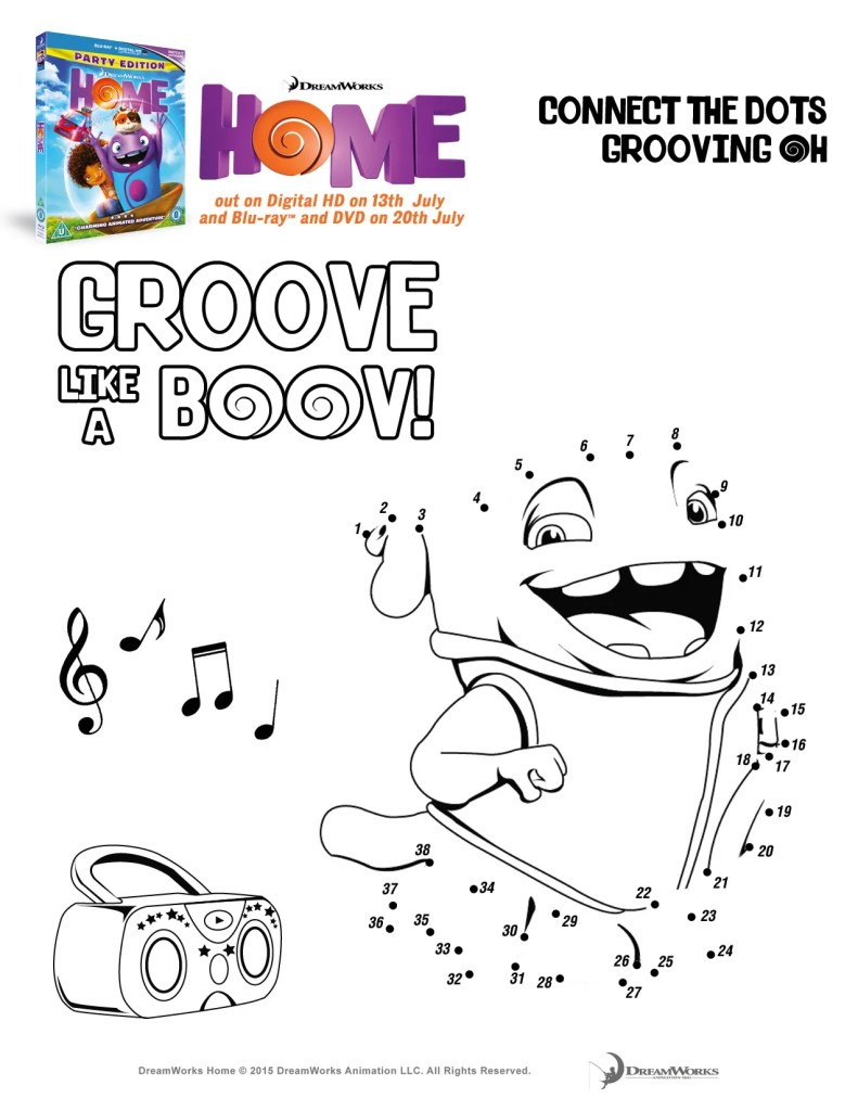 Oh goove like a boov printable activity sheet connect the dots grooving Oh, from the Dreamworks movie Home