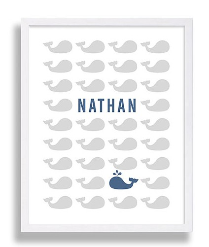 personalised whale nursery print with the name Nathan