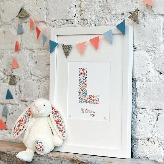 personalised initial nursery print in vintage floral pattern