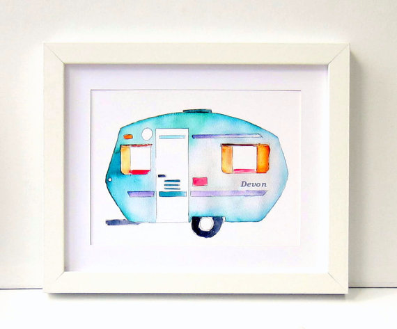personalised watercolour caravan print for a nursery or child's bedroom