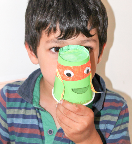 Paper cup teenage mutant ninja turtles kids craft (michaelangelo)