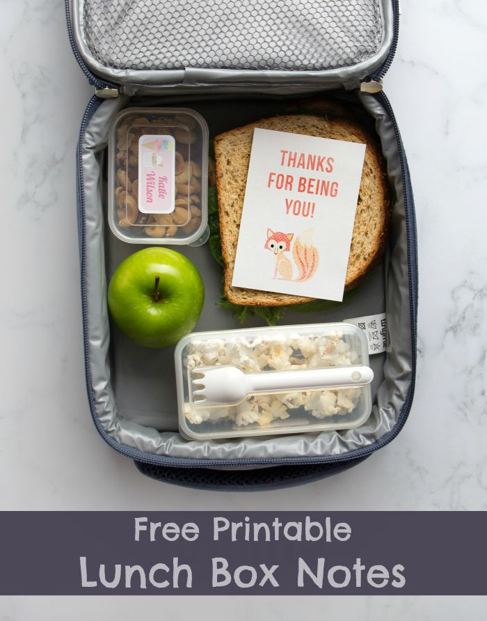 Free printable lunch box notes for kids, great for back to school. Ready made and notes with a space to write your own message