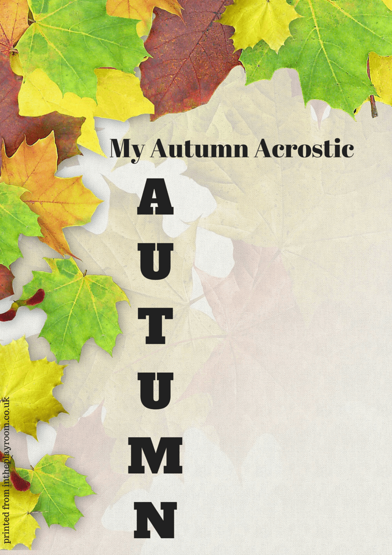 Full colour Autumn Acrostic printable template. Fun literacy idea for fall, introduce kids to acrostic poems